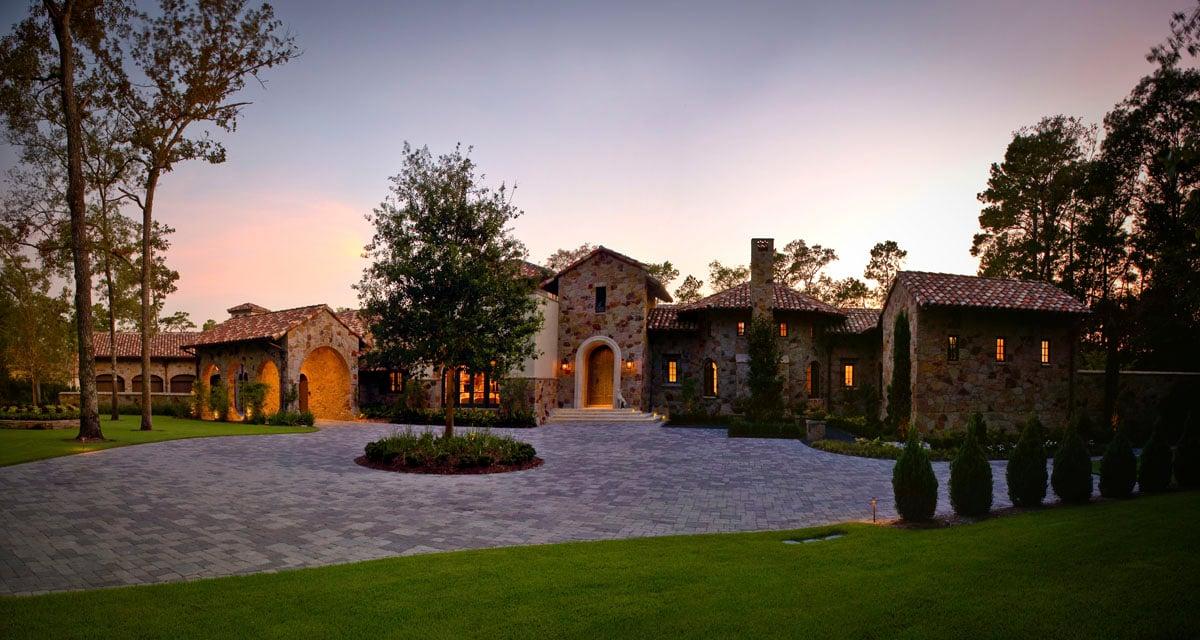 custom tuscan villa front driveway view