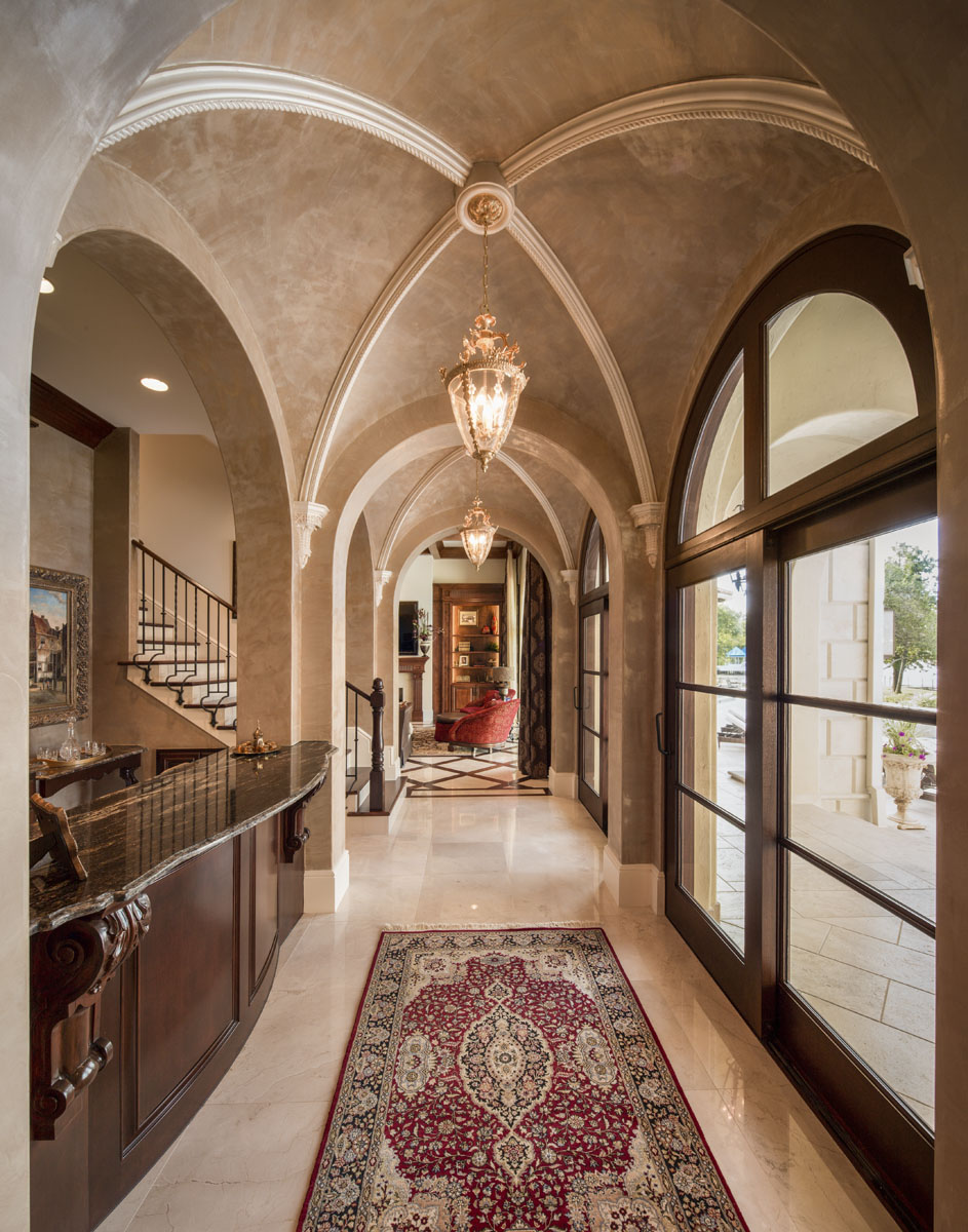lakeside luxe hallway arches