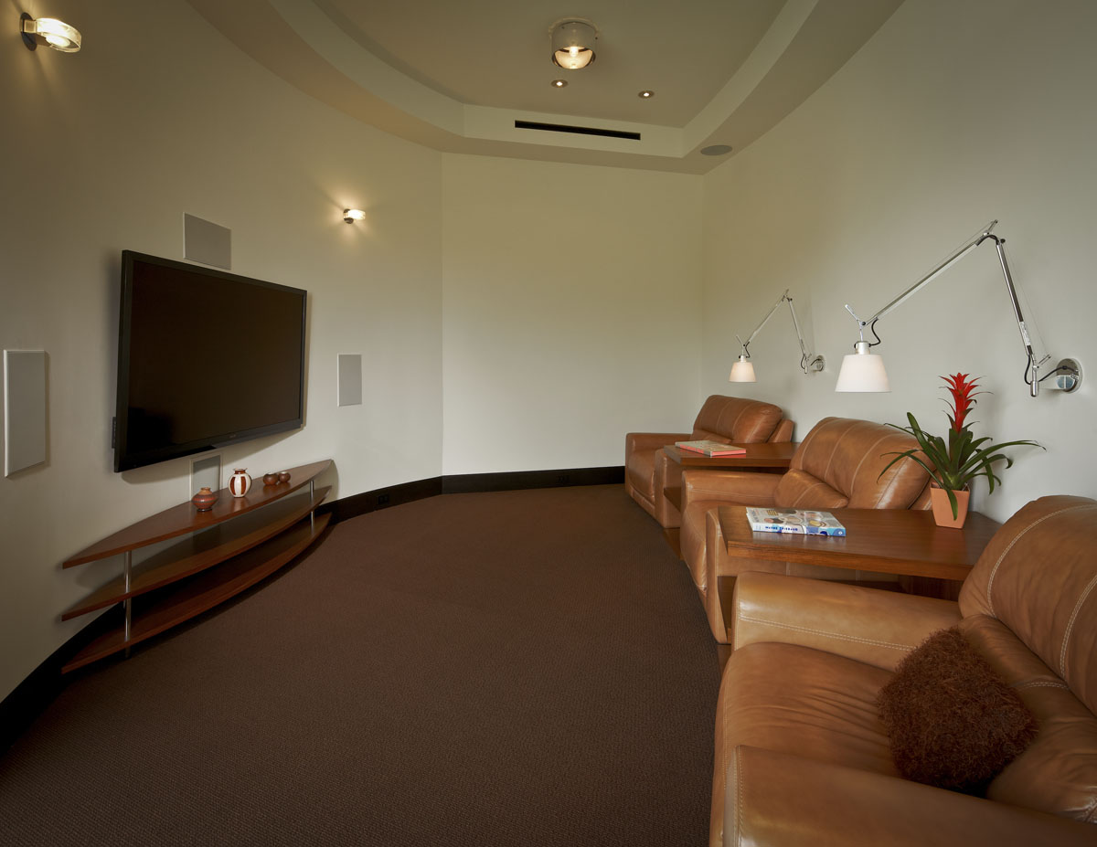 lakefront modern movie room