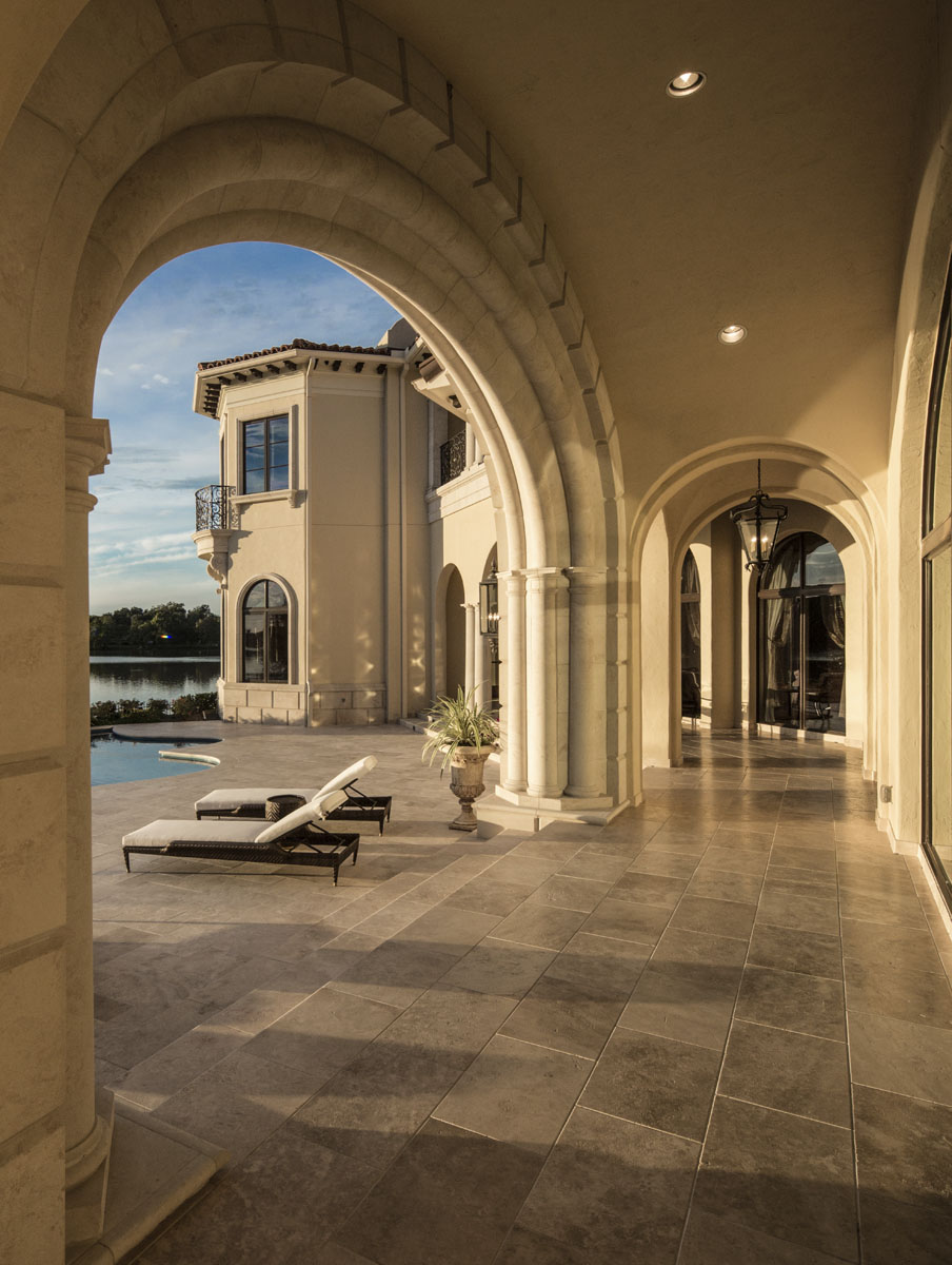 lakeside luxe outdoor hallway arches
