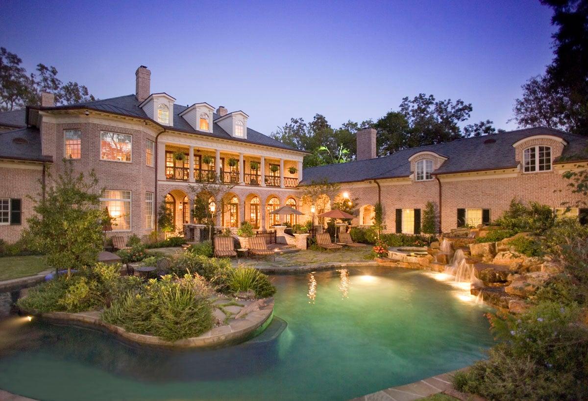 greek revival back yard pool