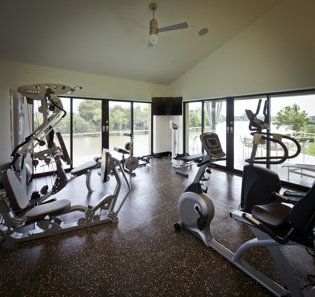 lakefront modern exercise room