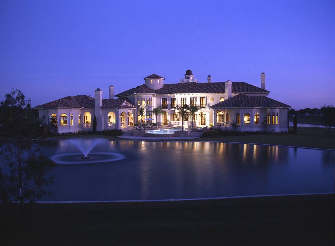 grand estate across pond