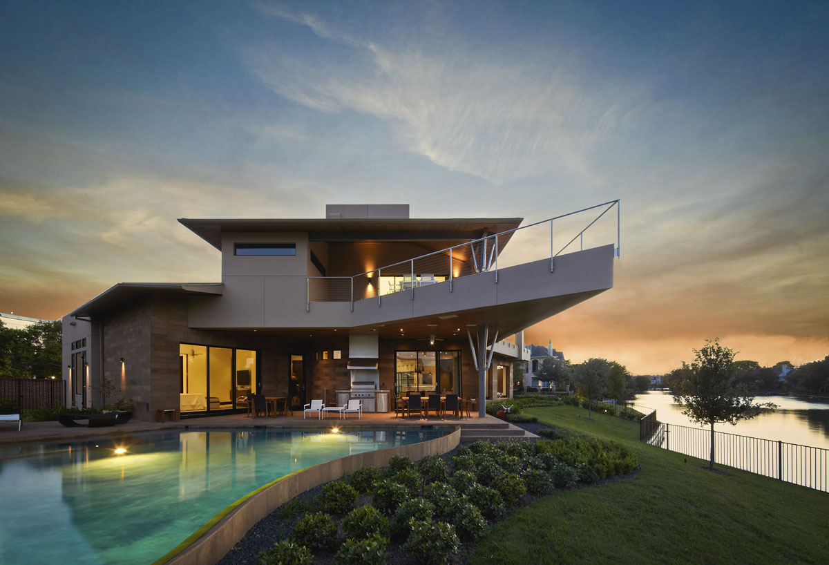 lakefront modern pool