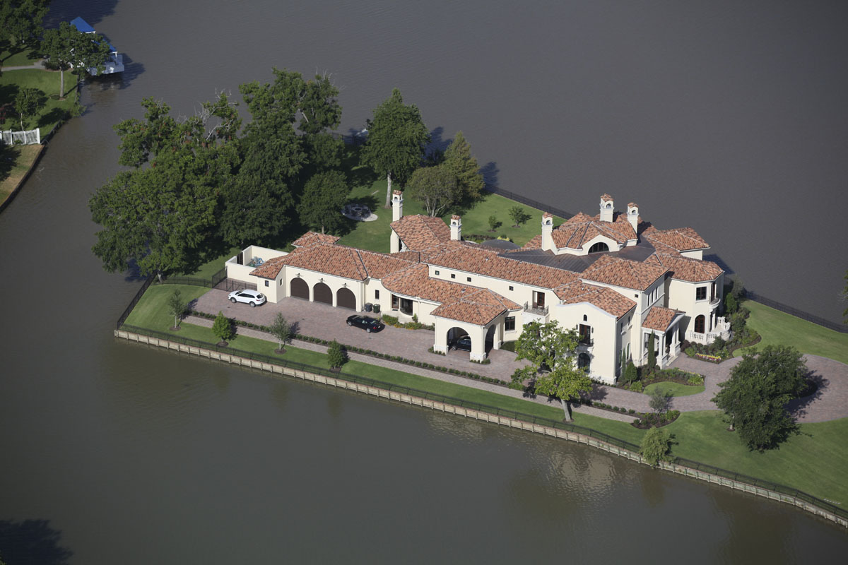 lakeside luxe aerial view