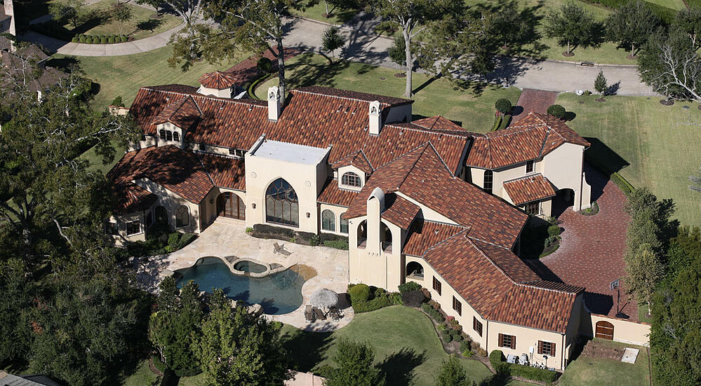 aerial view of a custom home