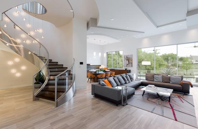 lakefront modern home living room
