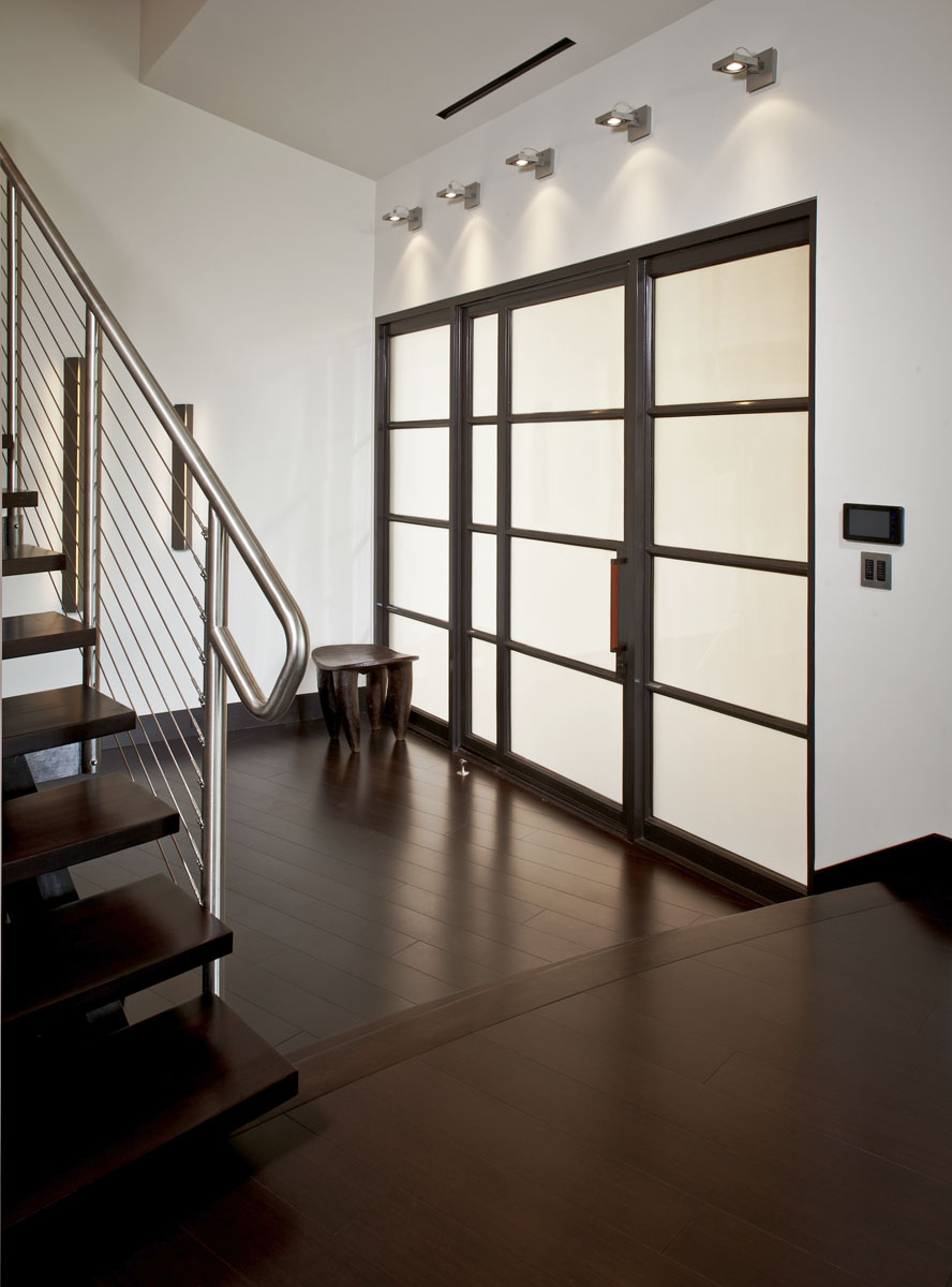 lakefront modern foyer