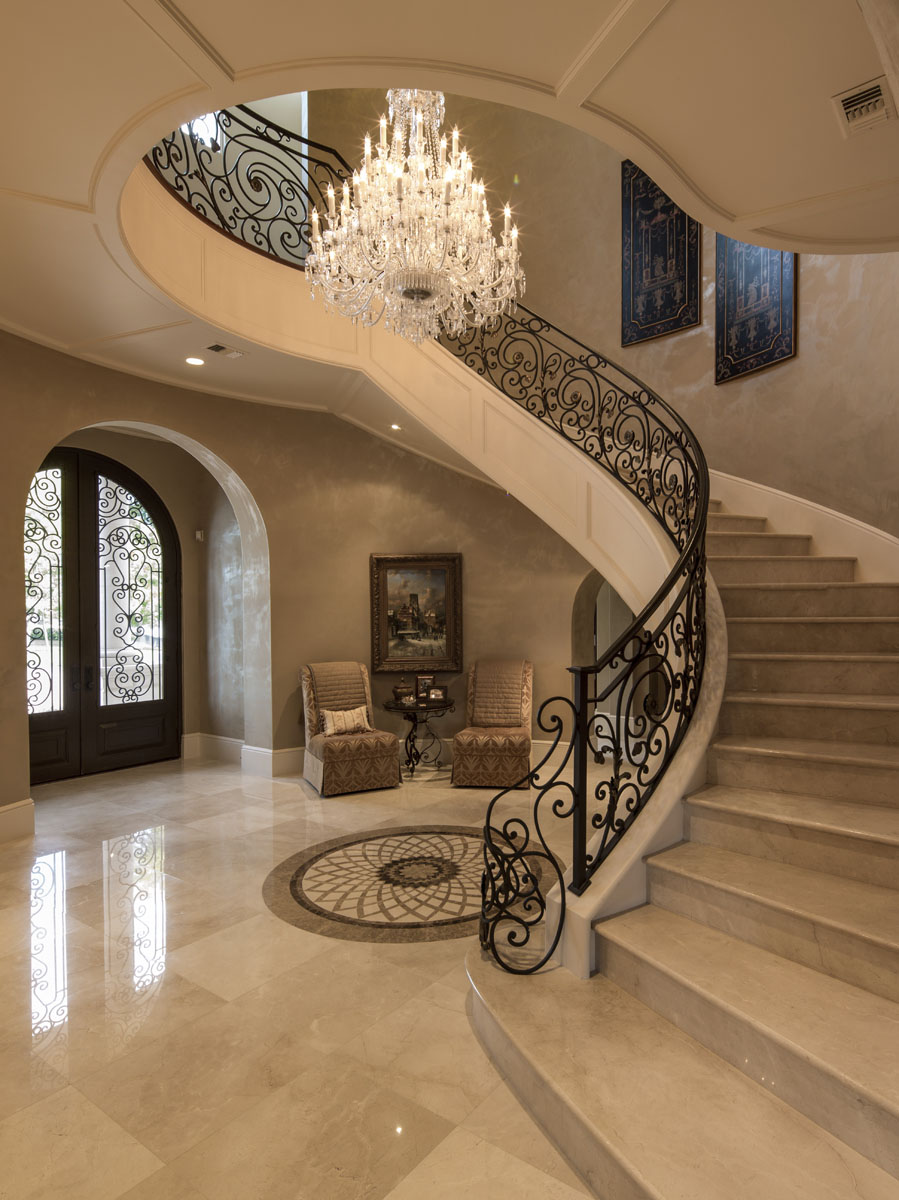 lakeside luxe staircase and foyer