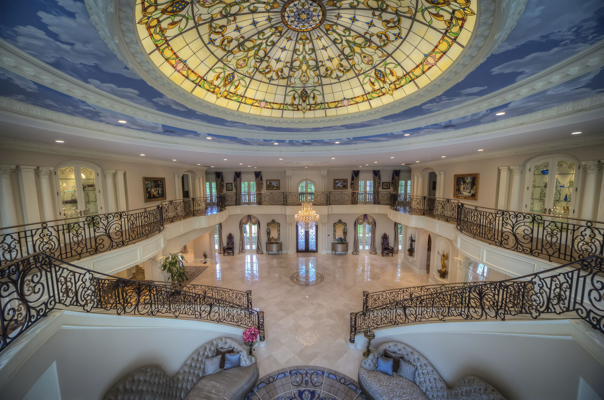 saddlebrook mediterranean grand hall wide shot ceiling design