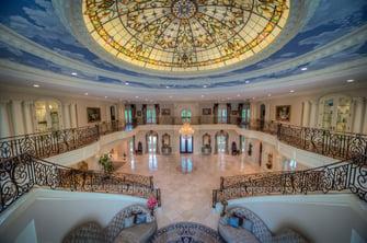 saddlebrook mediterranean grand hall wide shot ceiling design