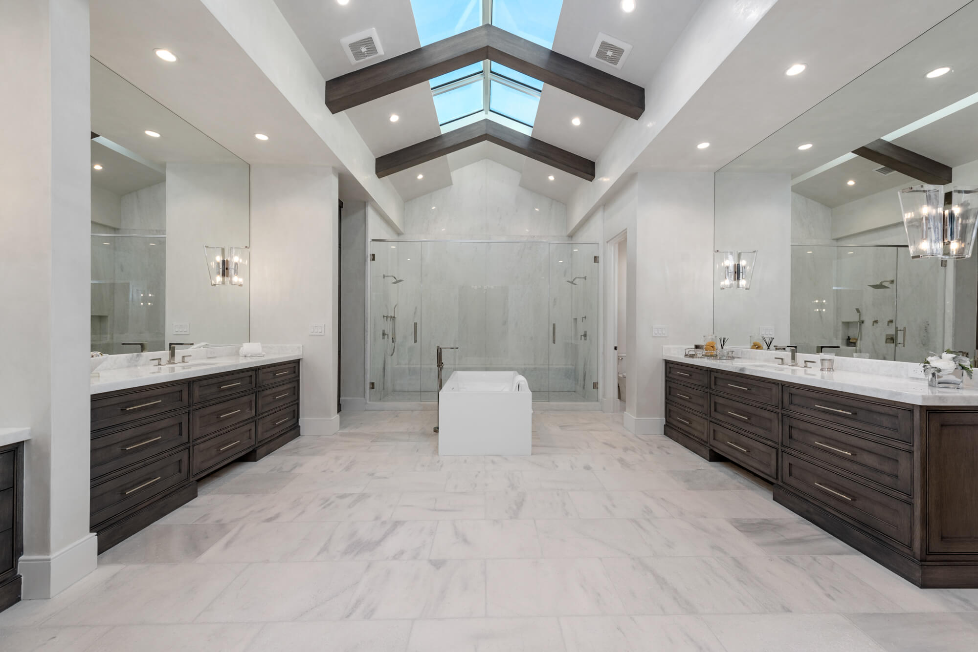 master bath vaulted ceiling linear skylights
