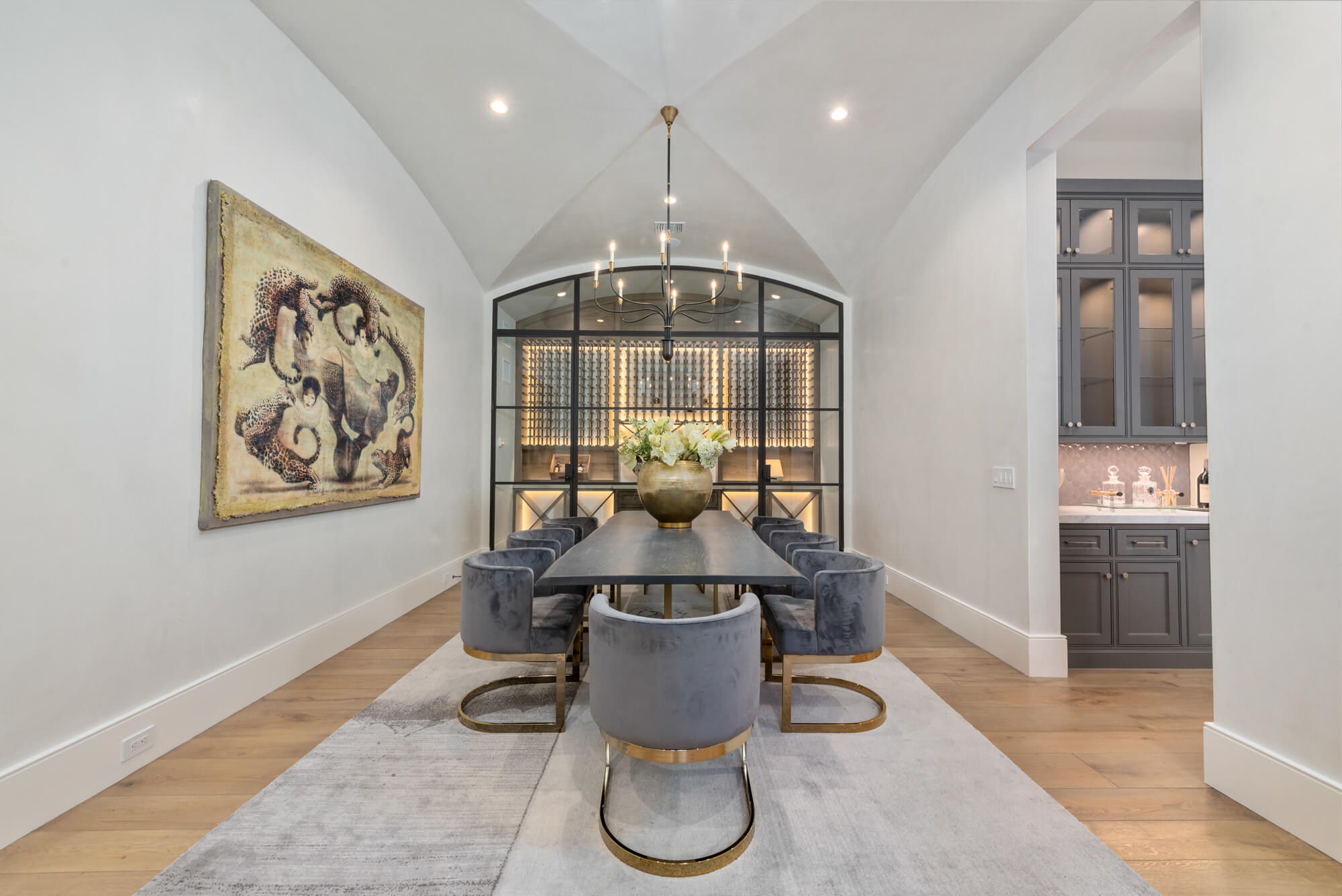 formal dining room with wine vault