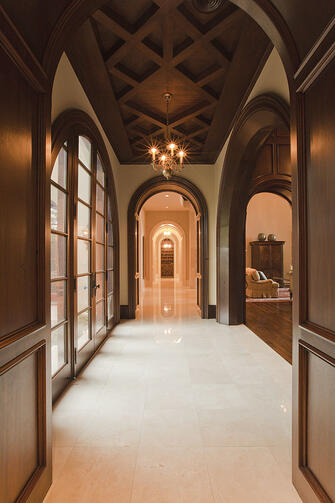 spanish mission hallway with textured ceiling