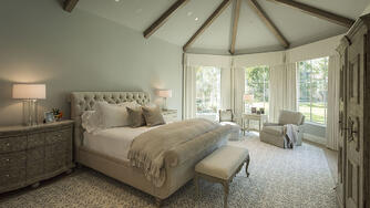 memorial manor master bedroom with high ceilings