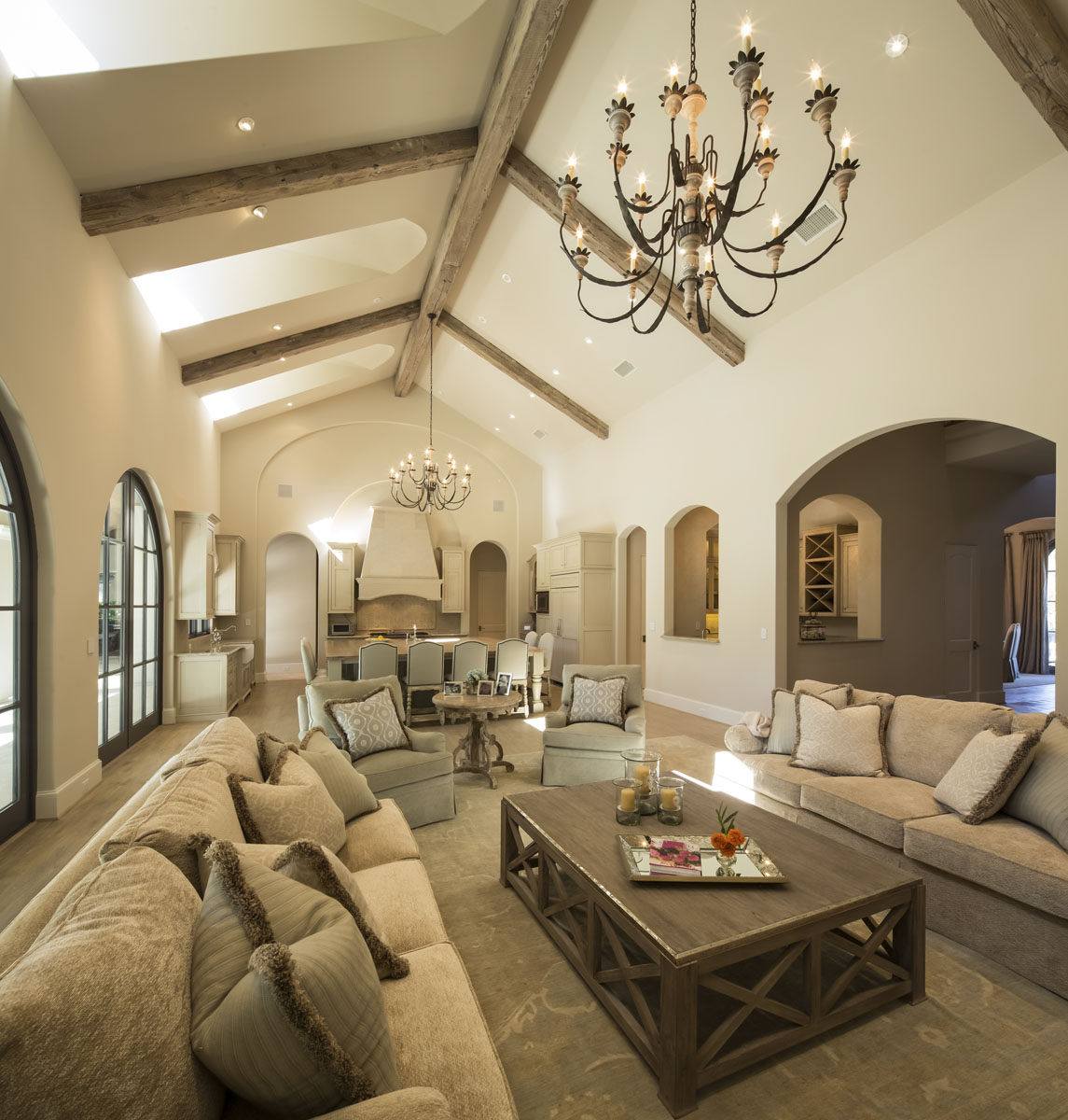 memorial manor living room with high ceilings