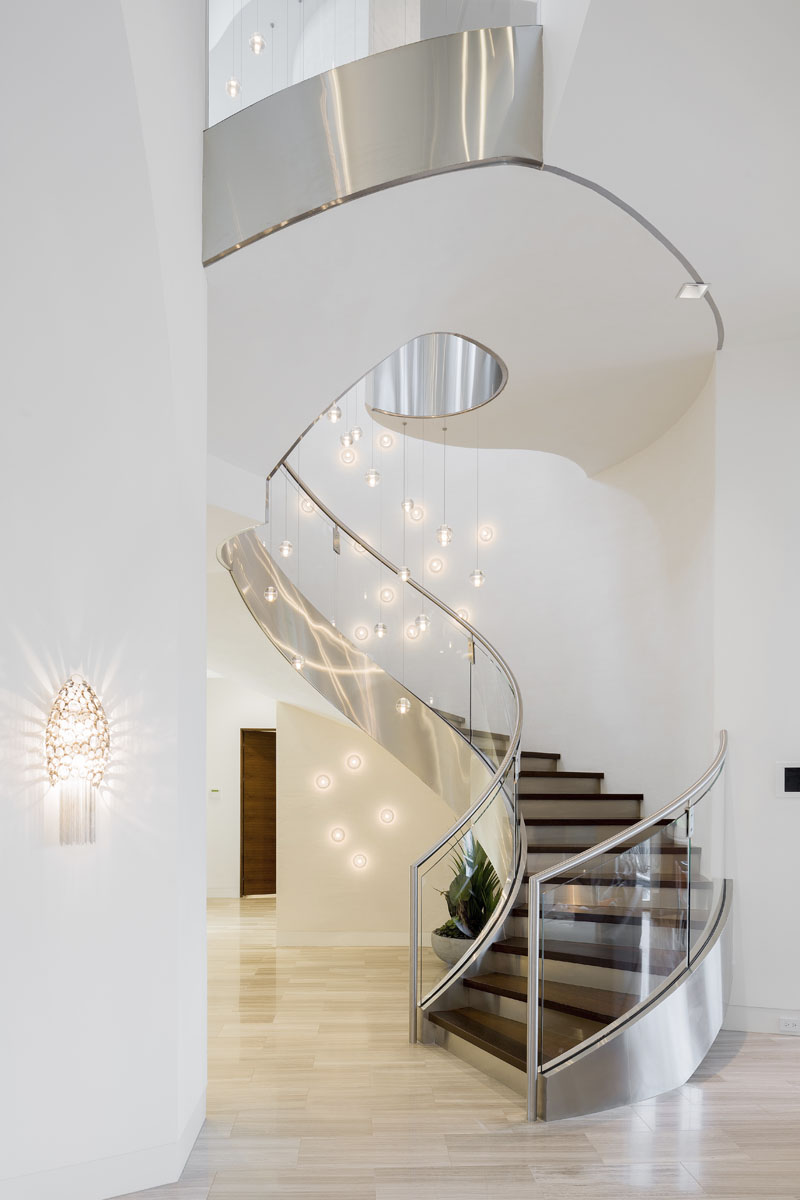 custom lake pointe contemporary luxury home stairwell