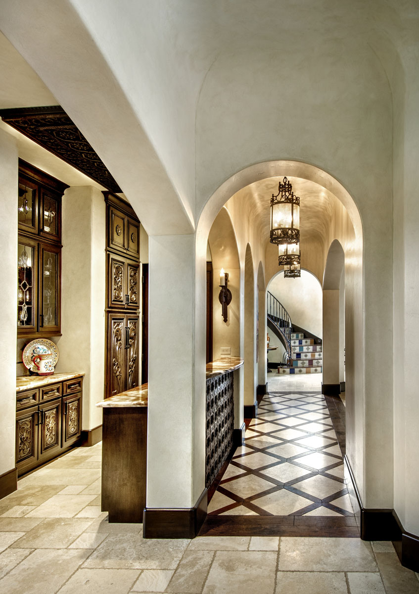 spanish mediterranean hallway arches