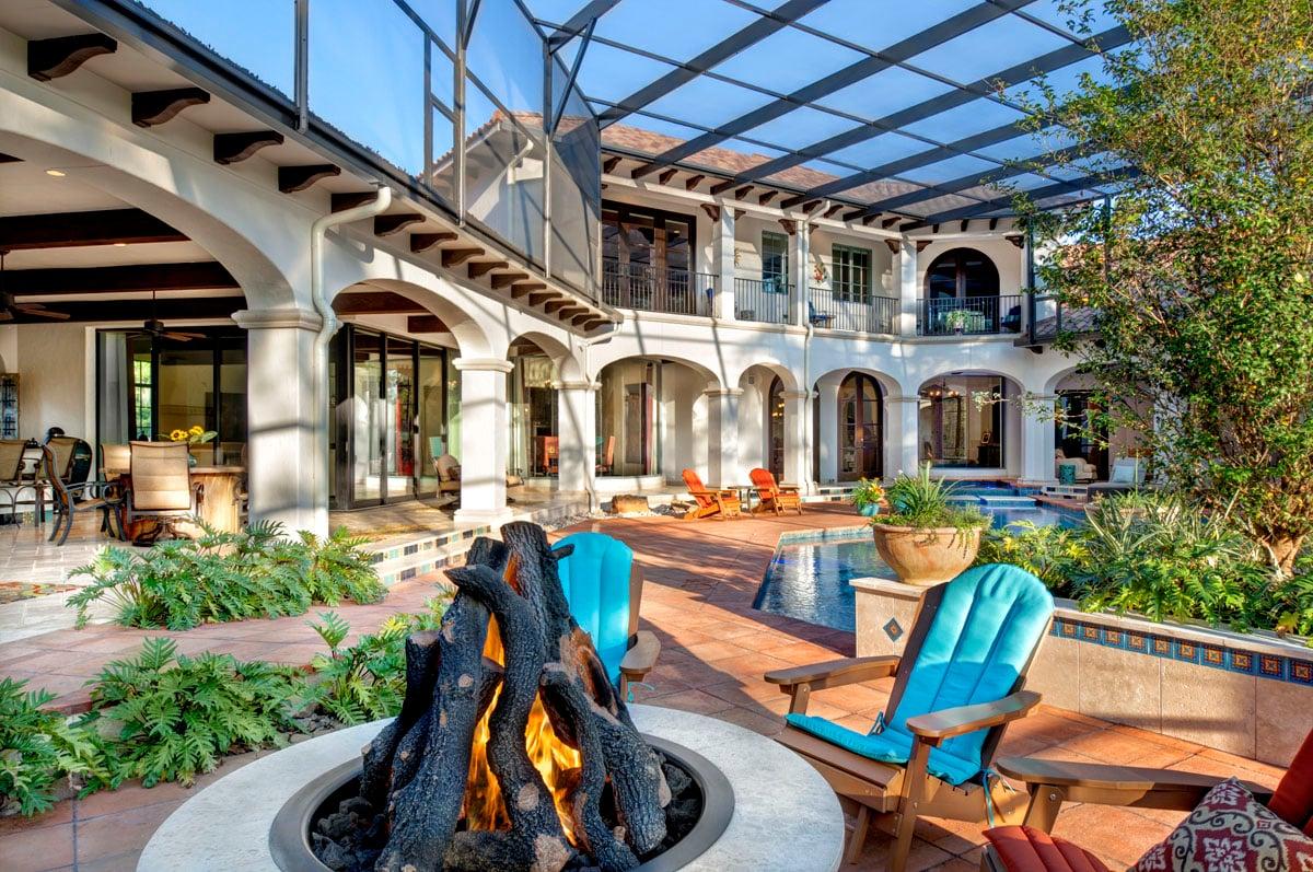 spanish mediterranean firepit and patio