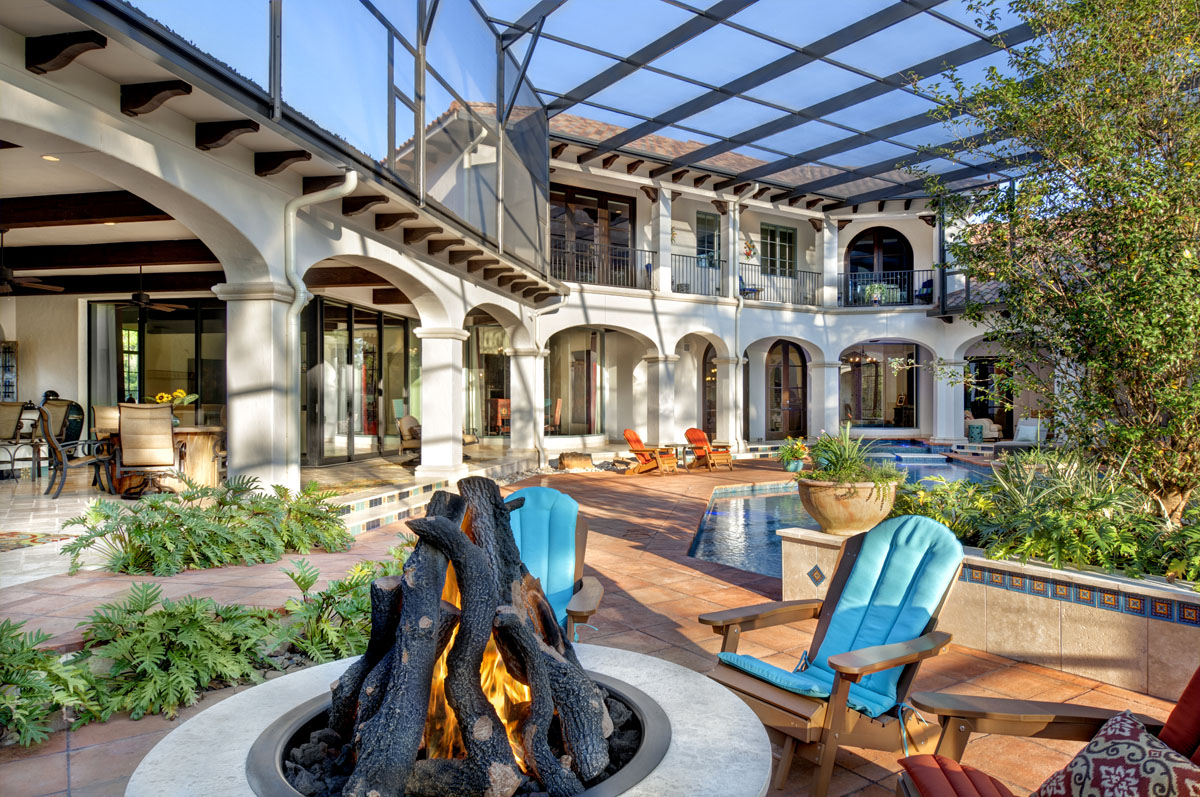 spanish mediterranean firepit and patio