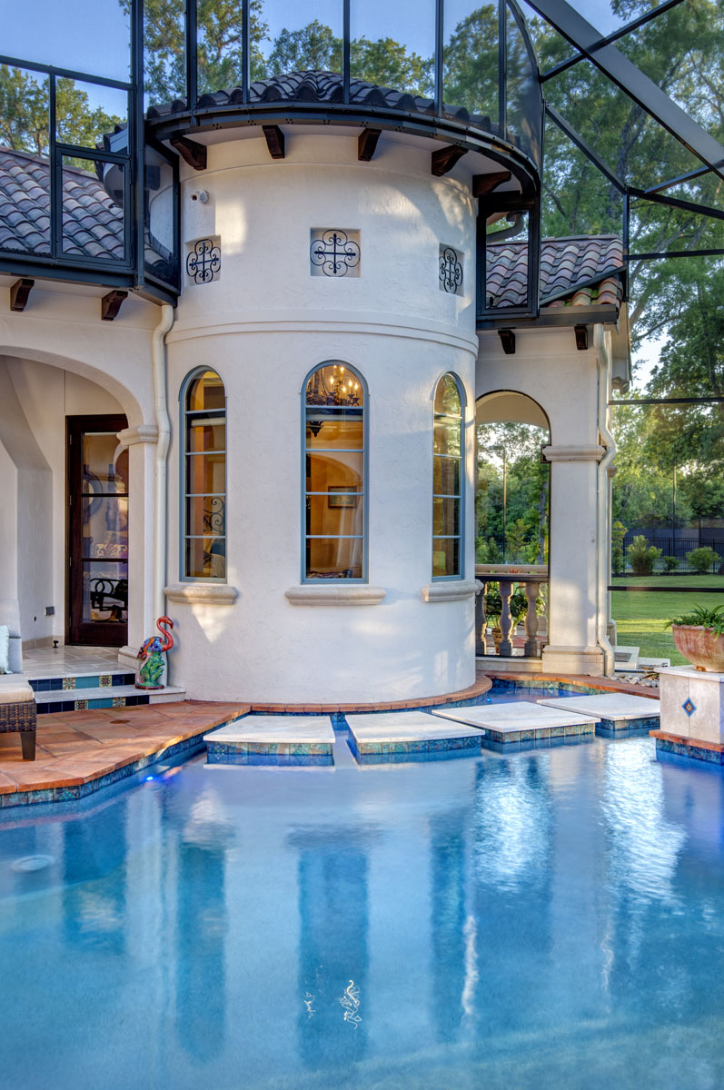 spanish mediterranean outdoor detail and pool