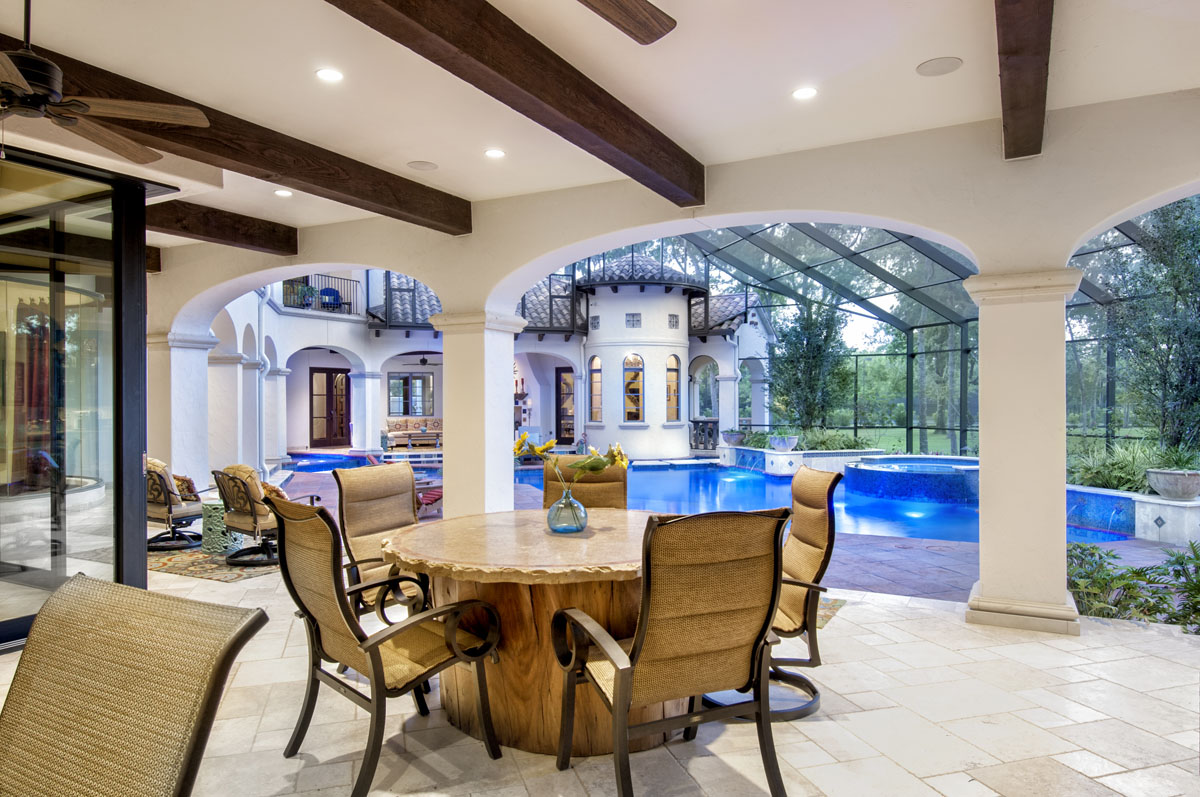 spanish mediterranean outdoor patio and pool