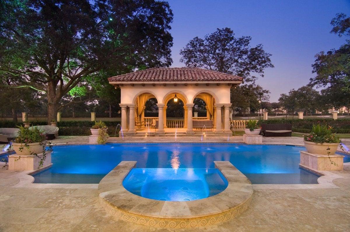 custom classic mediterranean back yard pool
