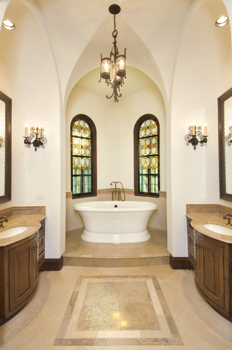spanish colonial bathroom close up