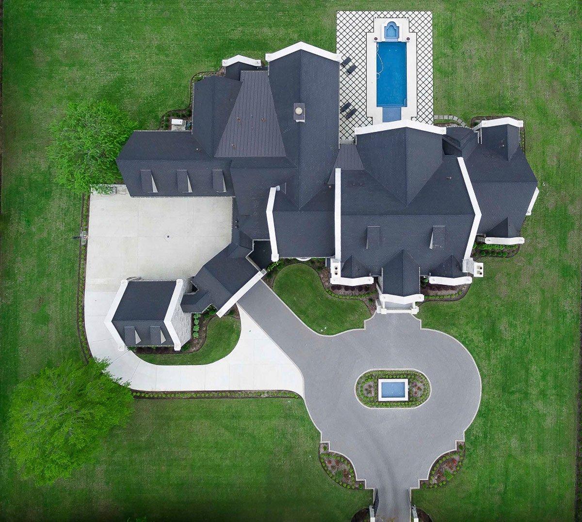 english tudor aerial photo