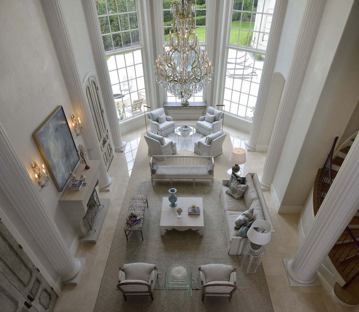 french manor living room with high ceilings