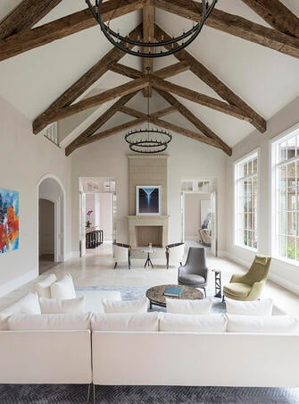 custom english country beams in living room