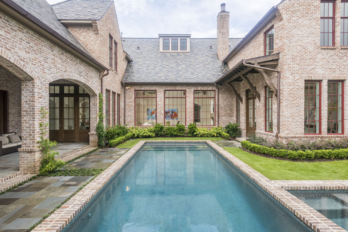 custom english country back yard pool