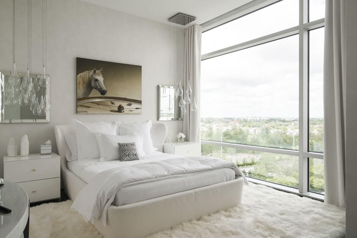 eclectic custom condo bedroom
