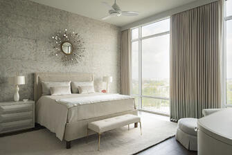 warm modern custom condo bedroom