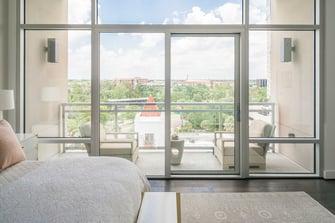 condo transitional custom windows and balcony