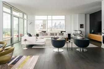 eclectic custom condo living room