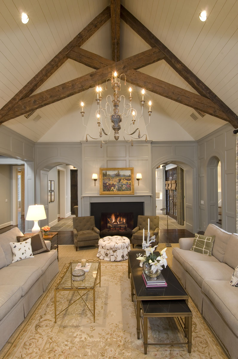 french normandy living room high ceiling
