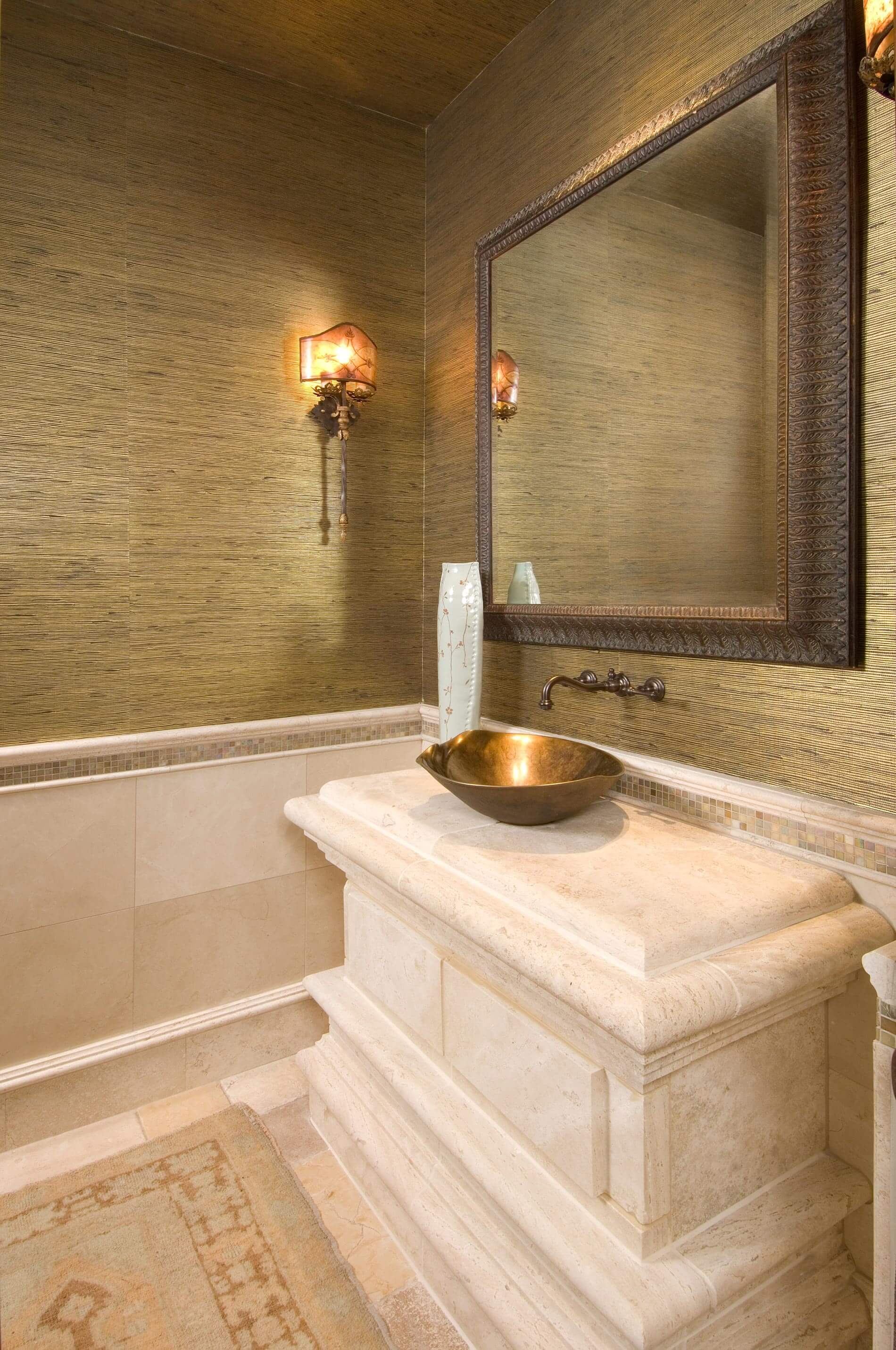 Powder room custom marble design
