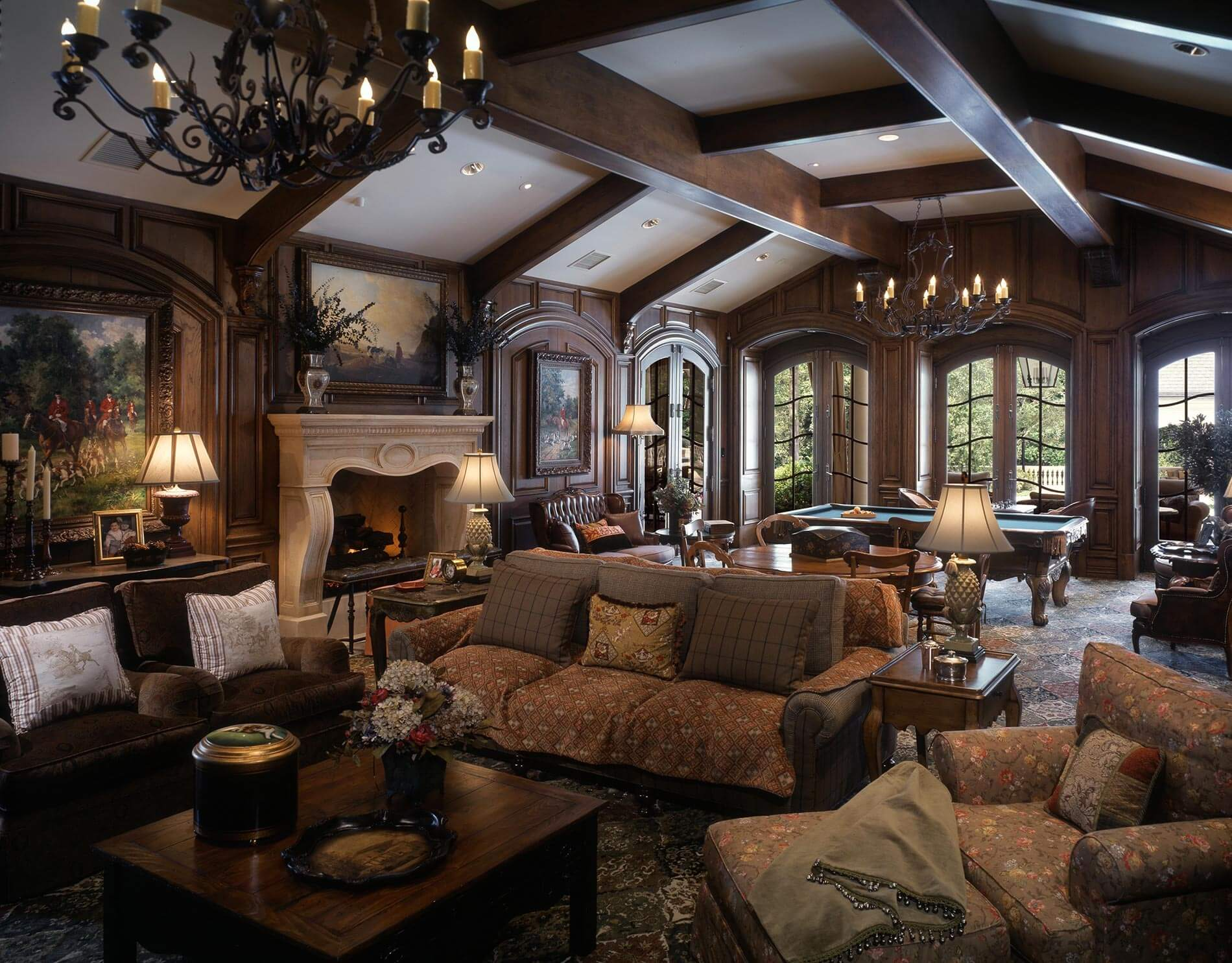 Billiard room french chateau