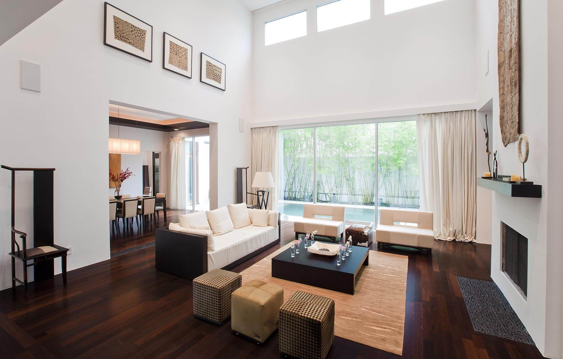 contemporary living room tall ceiling