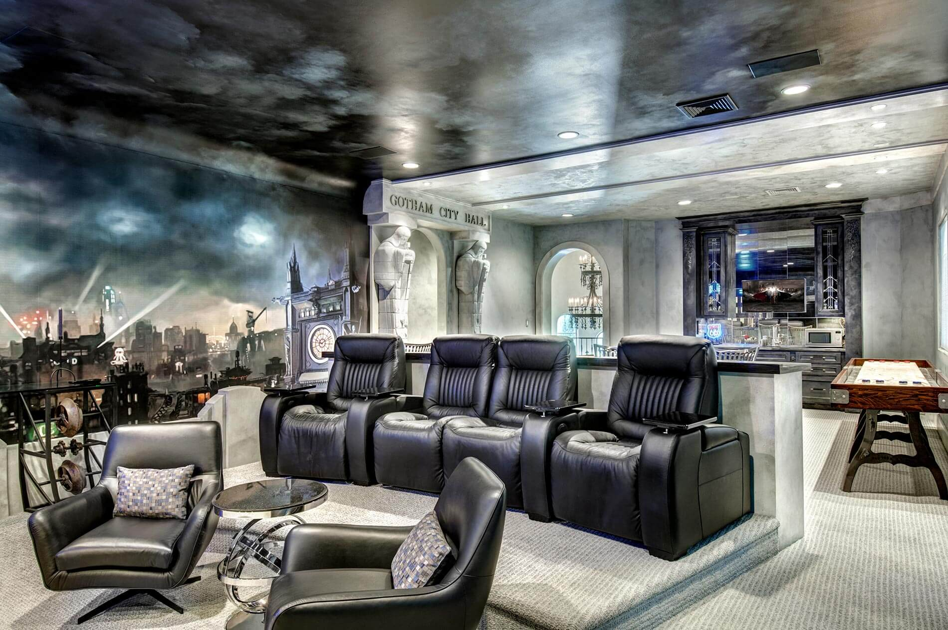 home theater in custom built home