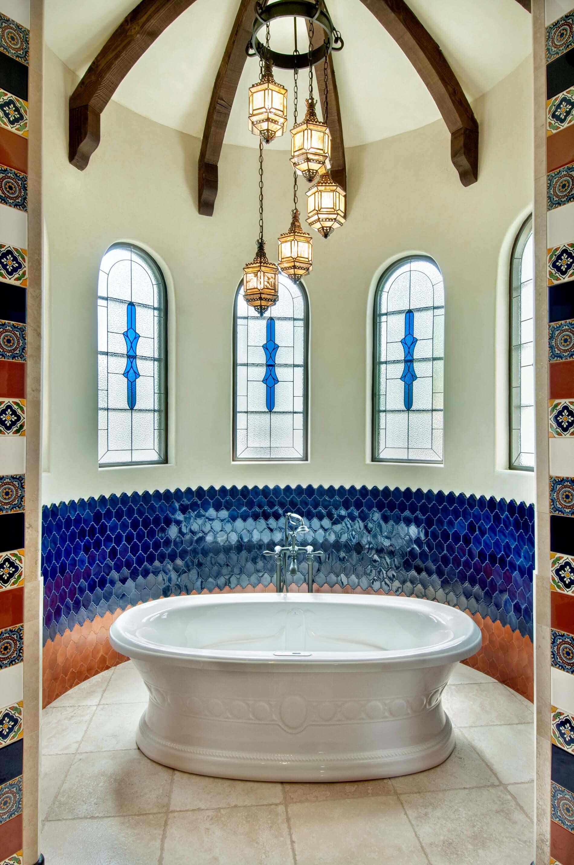 custom tub in spanish style home