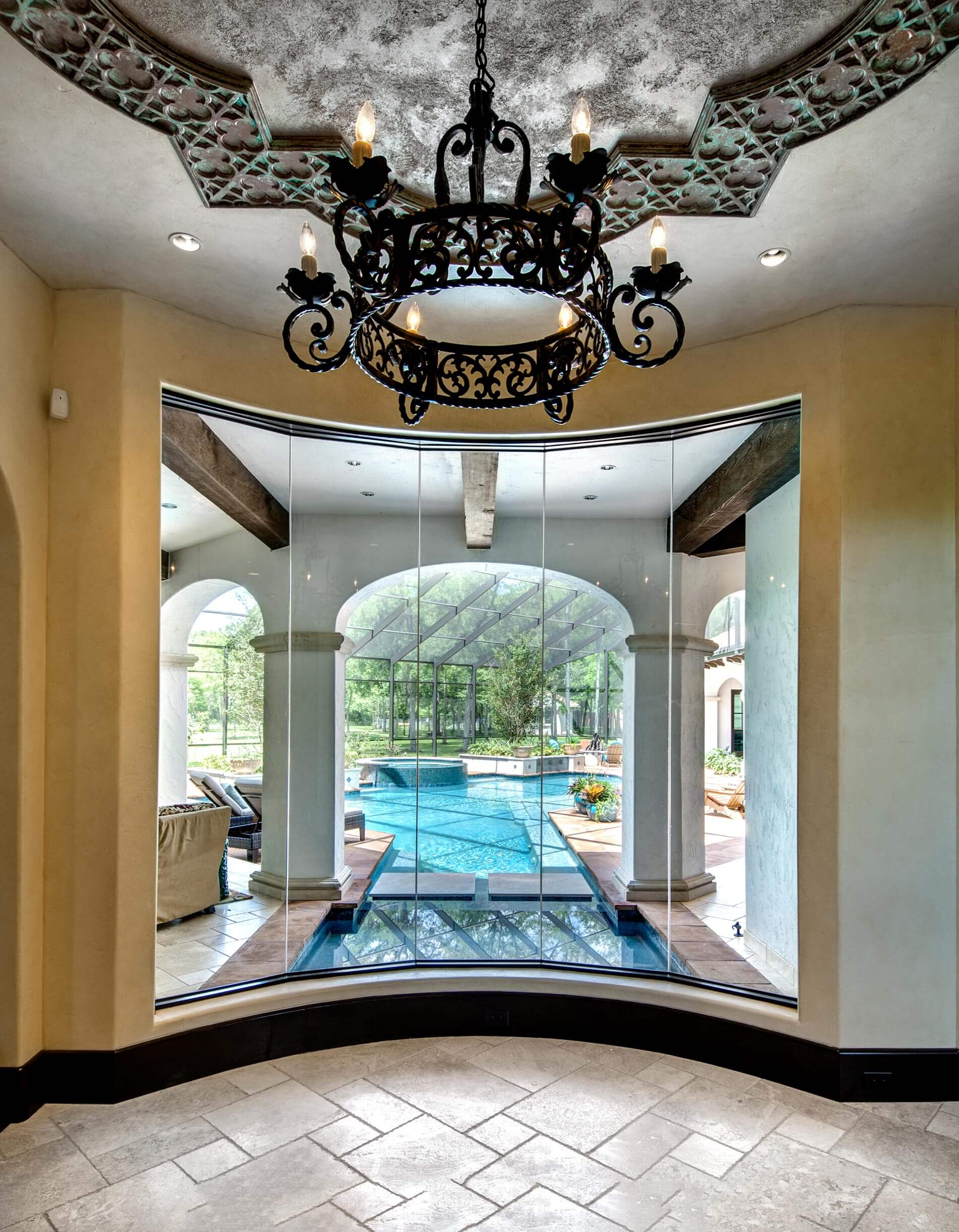 custom hallway looking out to pool