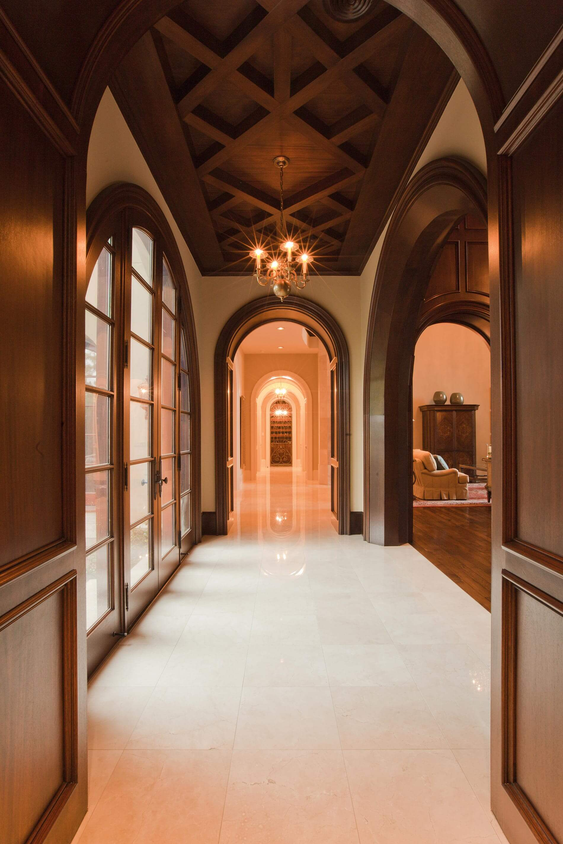 hallway with textured ceiling custom home