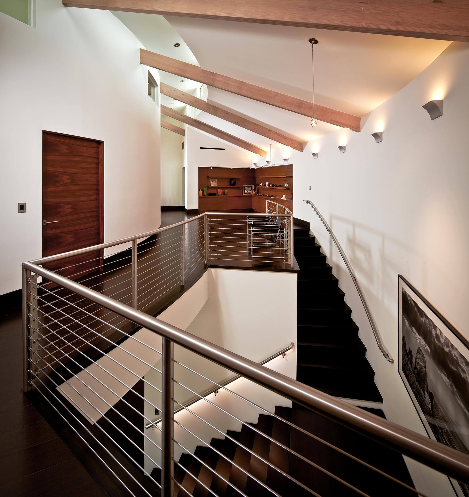 modern lakefront stair rail
