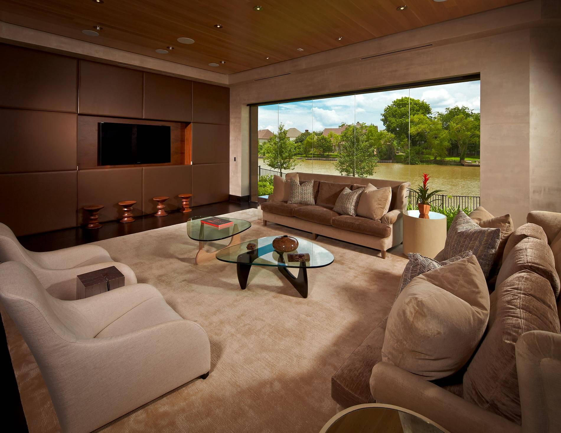 modern lakefront living room