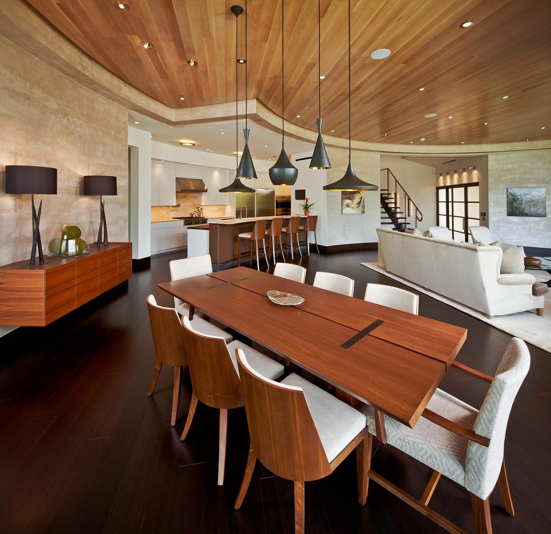 modern lakefront home interior