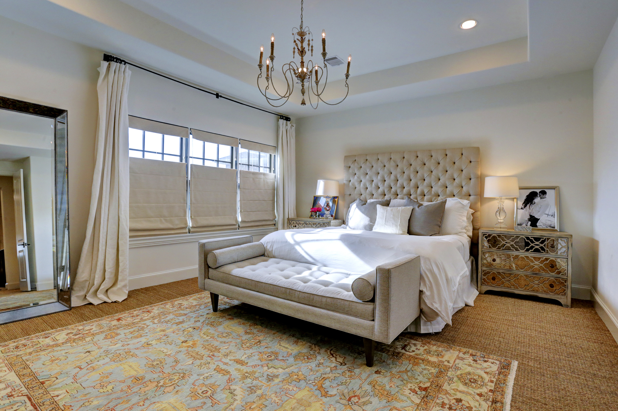Transitional luxury home bedroom