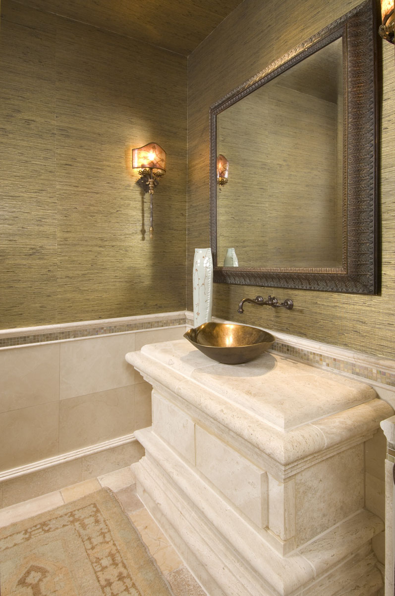 Powder room custom marble design