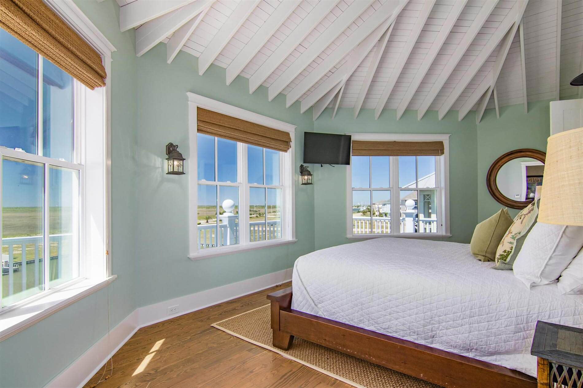 victorian bayhome bedroom with lake view